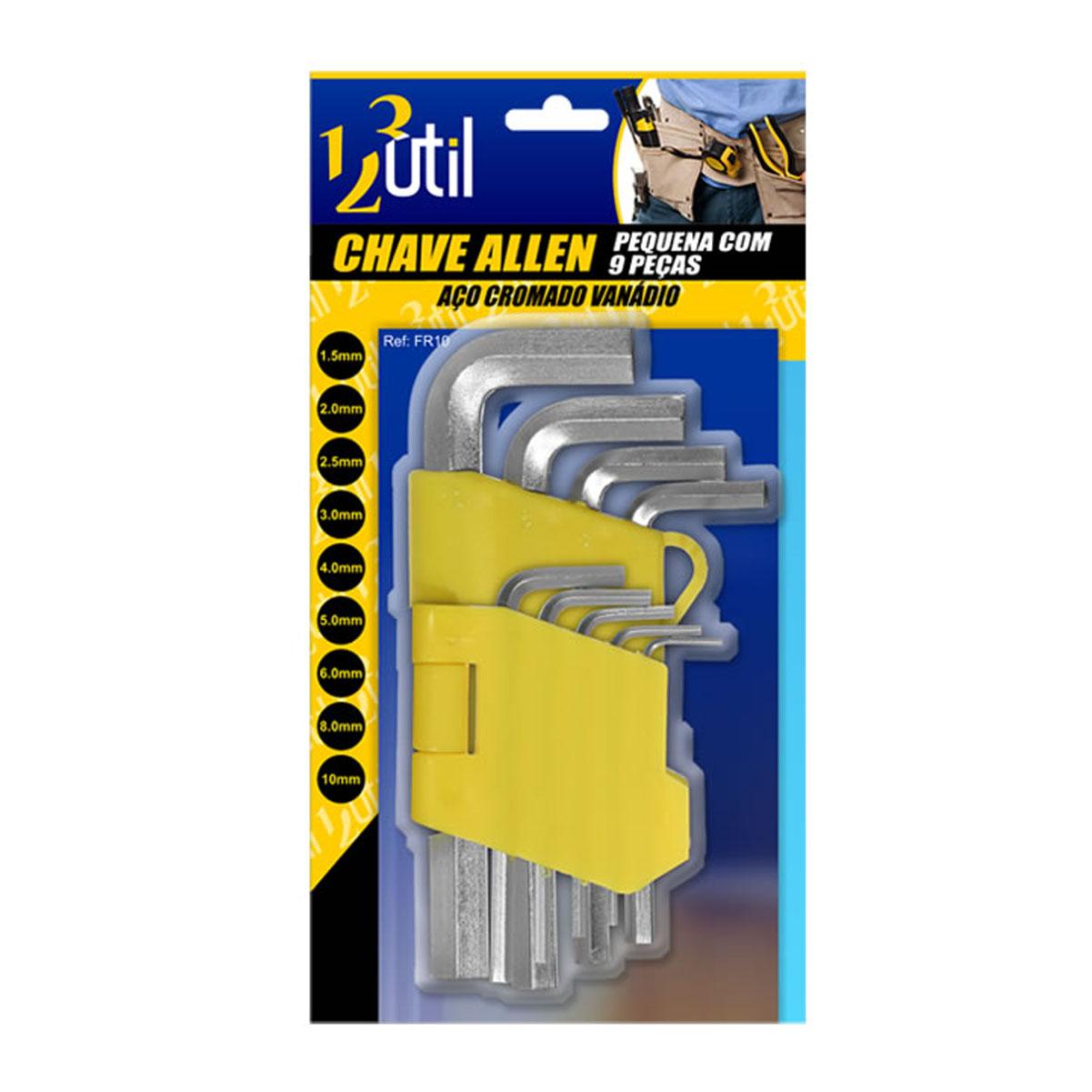 Jogo Chave Allen Kit 9 Peças Aço Cromado Pequena