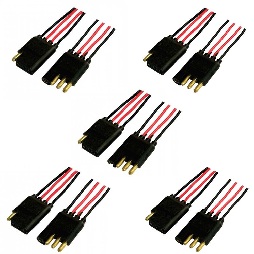 Kit 05 Conector Chicote 4 Vias Reforcado Fio 1mm Anti-erro