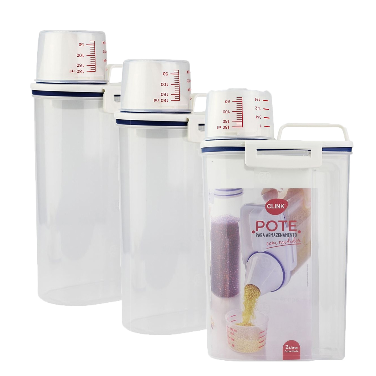 Kit 3 Pote Hermético 2L Plástico Mantimentos Copo Dosador
