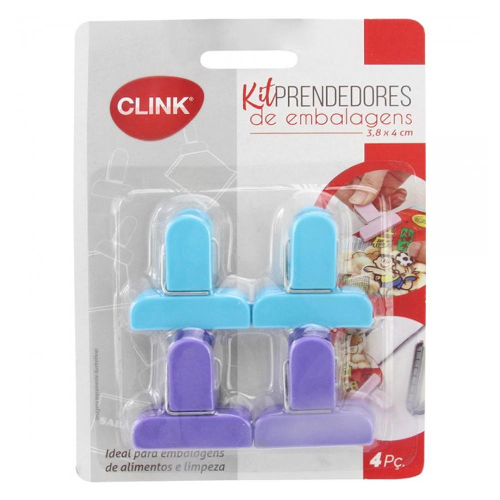 Kit 4 Prendedor De Plástico Para Embalagens Abertas Colorido