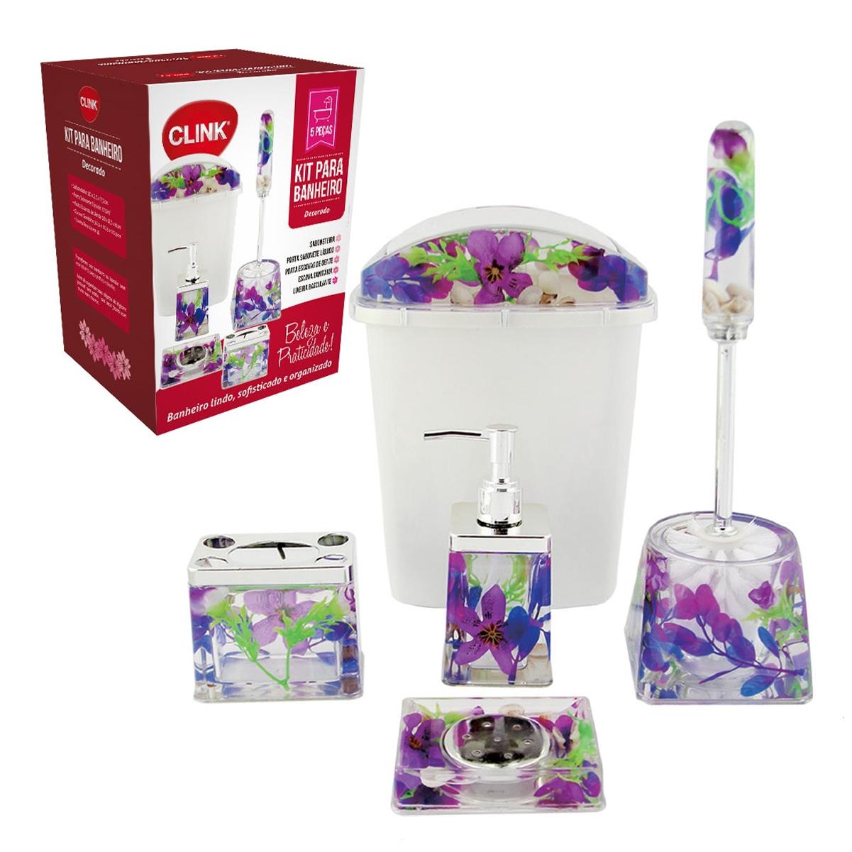 Kit Banheiro 5 Peças Lixeira Saboneteira Escova Sanitária