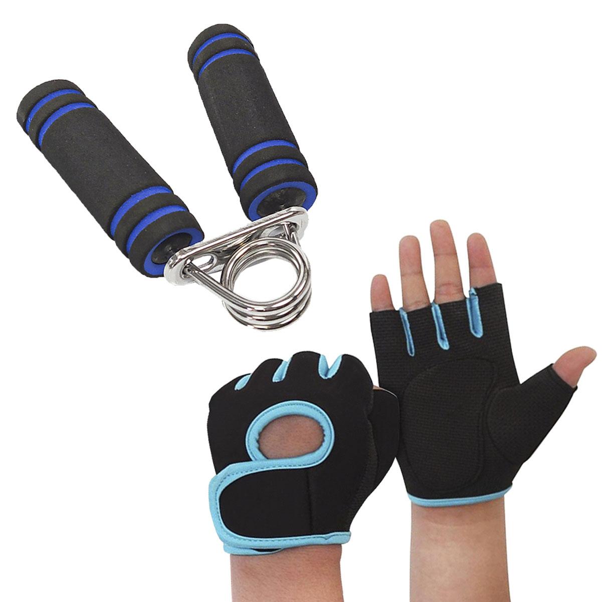 Kit Luva de Treino Azul com Hand Grip Musculação MBfit