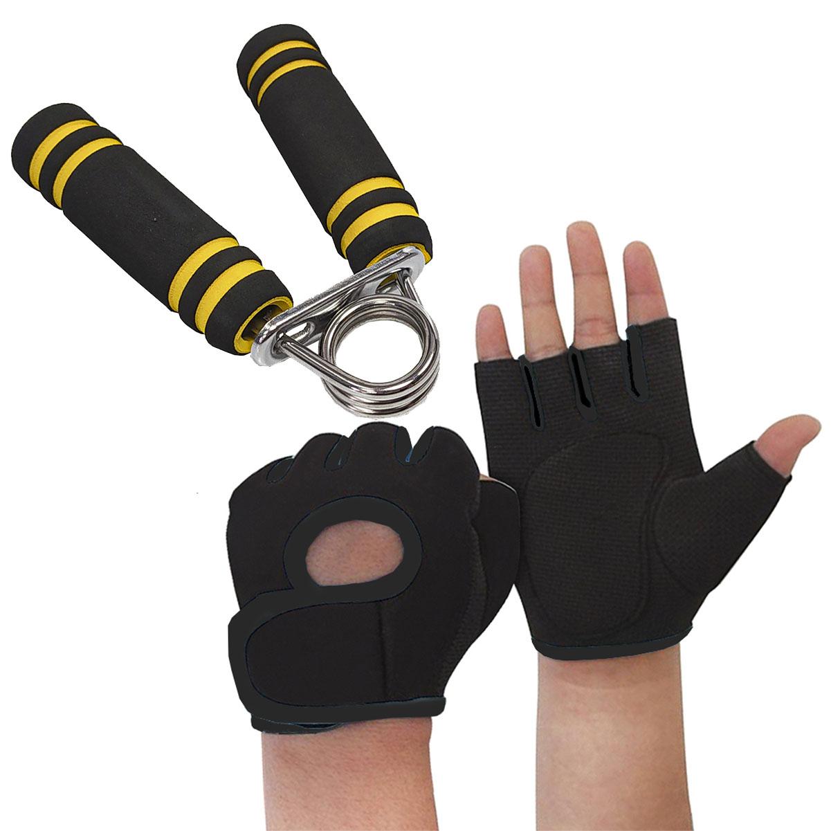 Kit Luva de Treino Preto com Hand Grip Musculação MBfit