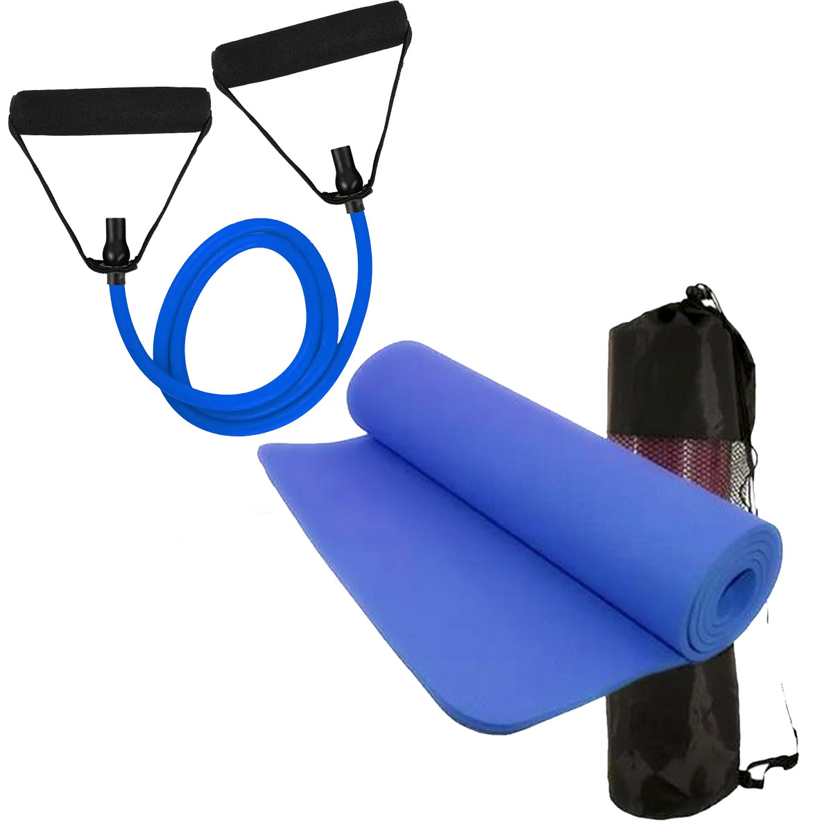 Kit Tapete de Yoga Azul Elástico Extensor Tensão MBfit