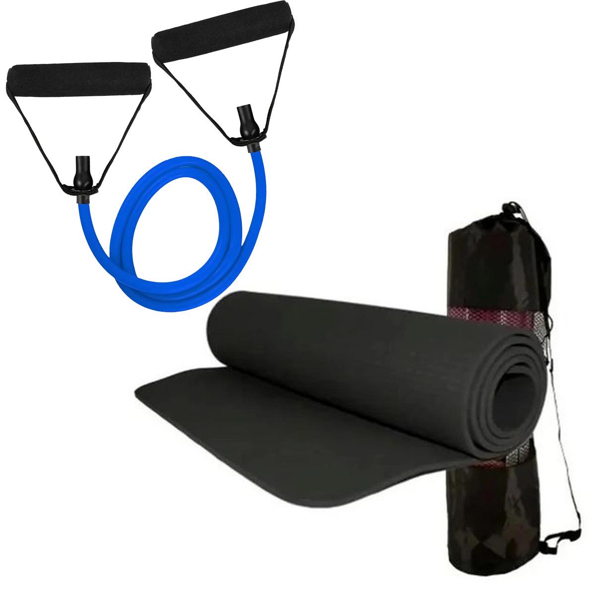 Kit Tapete de Yoga Preto Elástico Extensor Tensão MBfit
