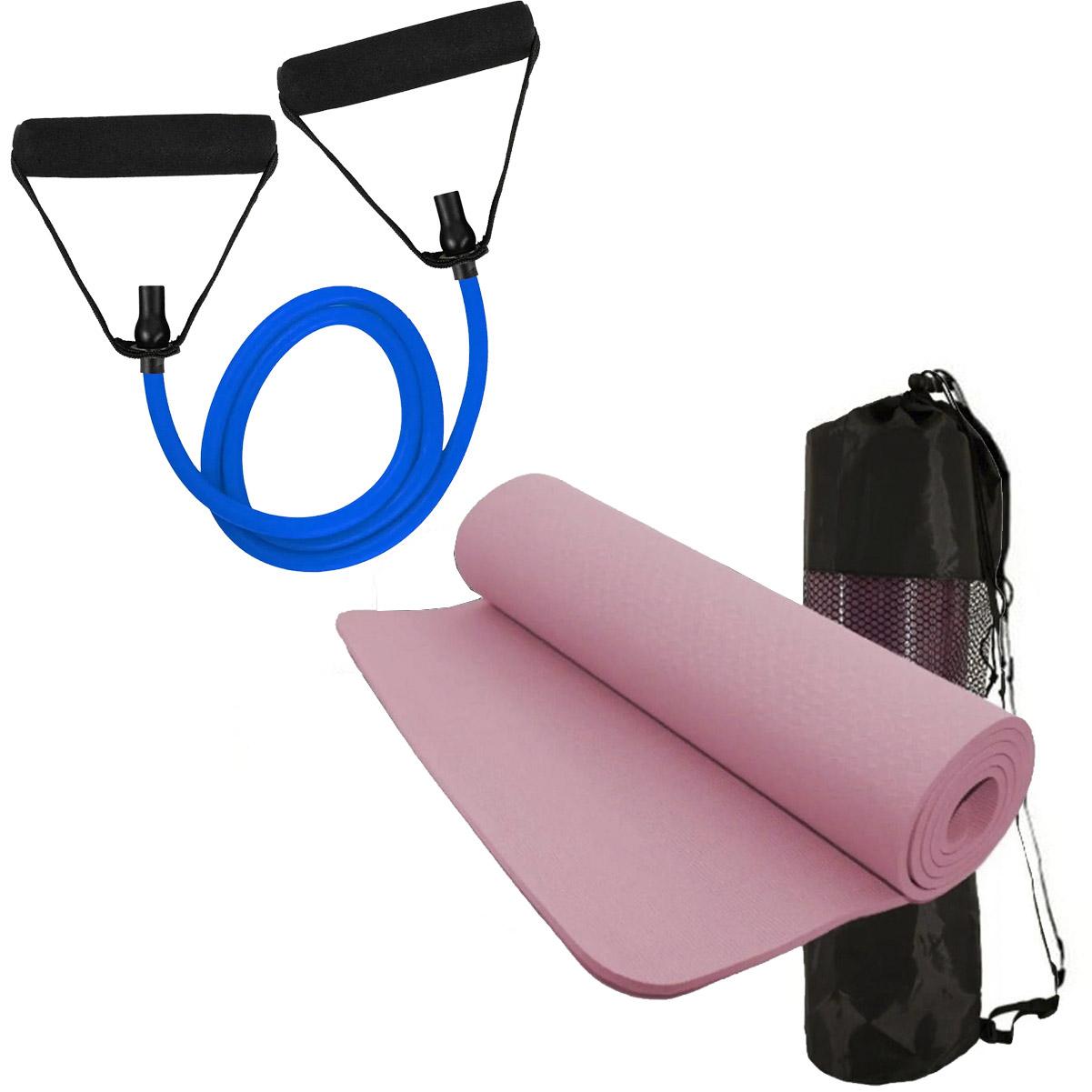 Kit Tapete de Yoga Rosa Elástico Extensor Tensão MBfit