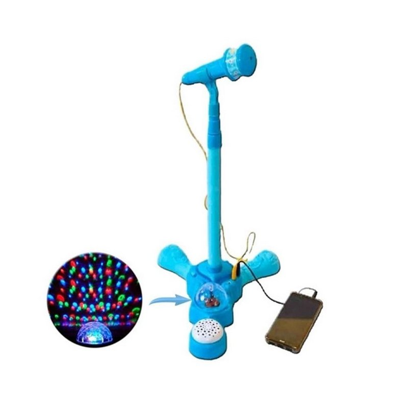 Microfone Infantil Com Pedestal E Amplificador Luzes