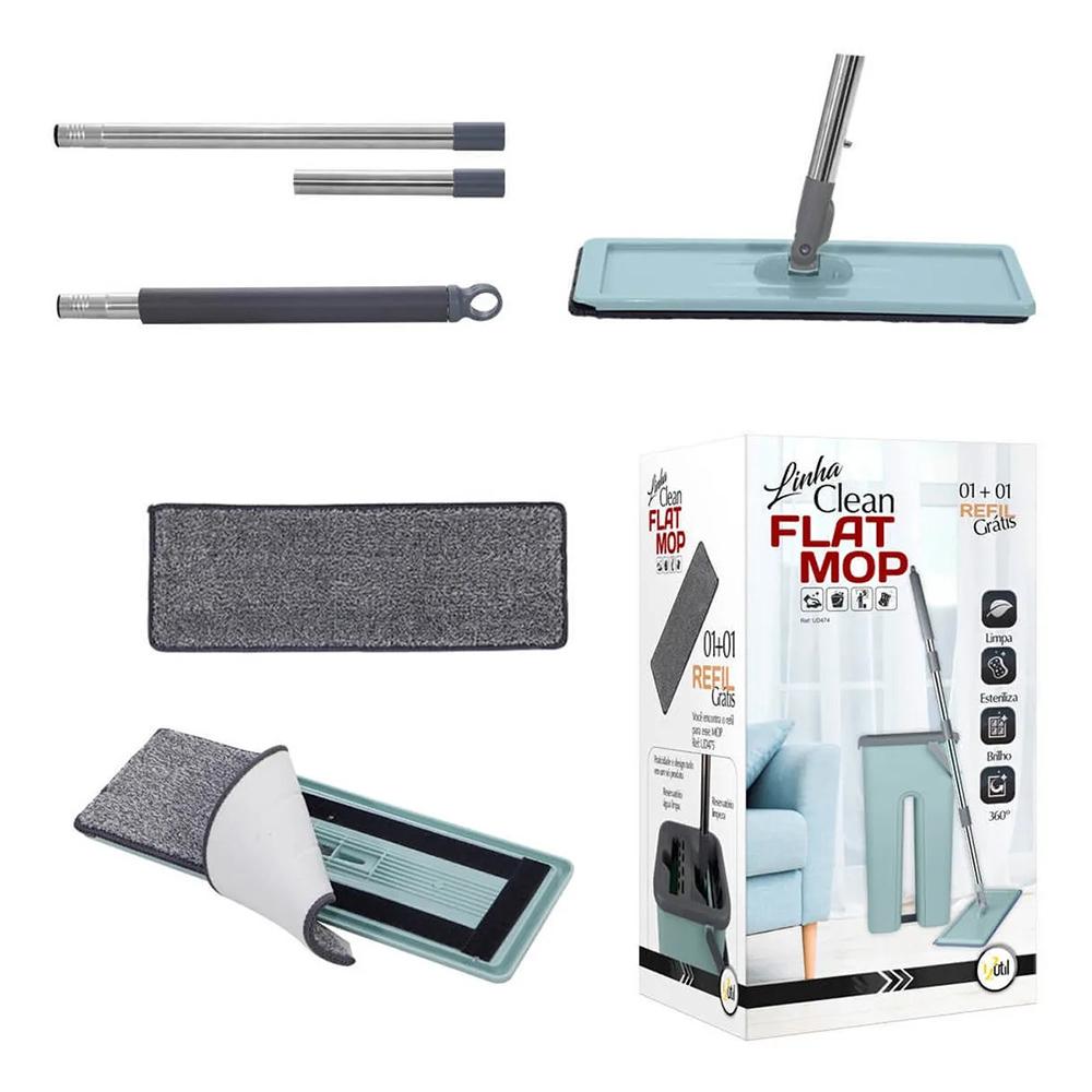 Mop Flat Com Balde Lava E Seca Esfregão Multiuso + Refil