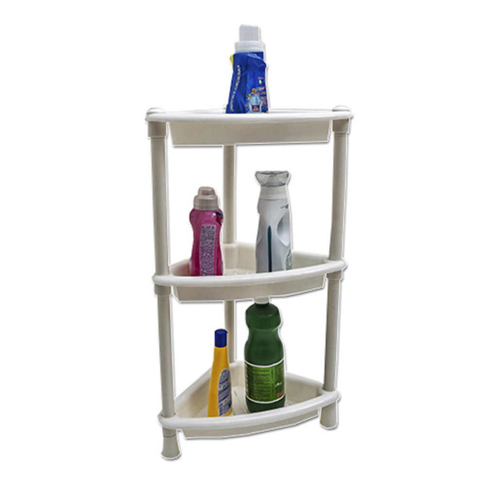 Porta Shampoo De Canto Prateleira Plástica Multiuso 3 Partes