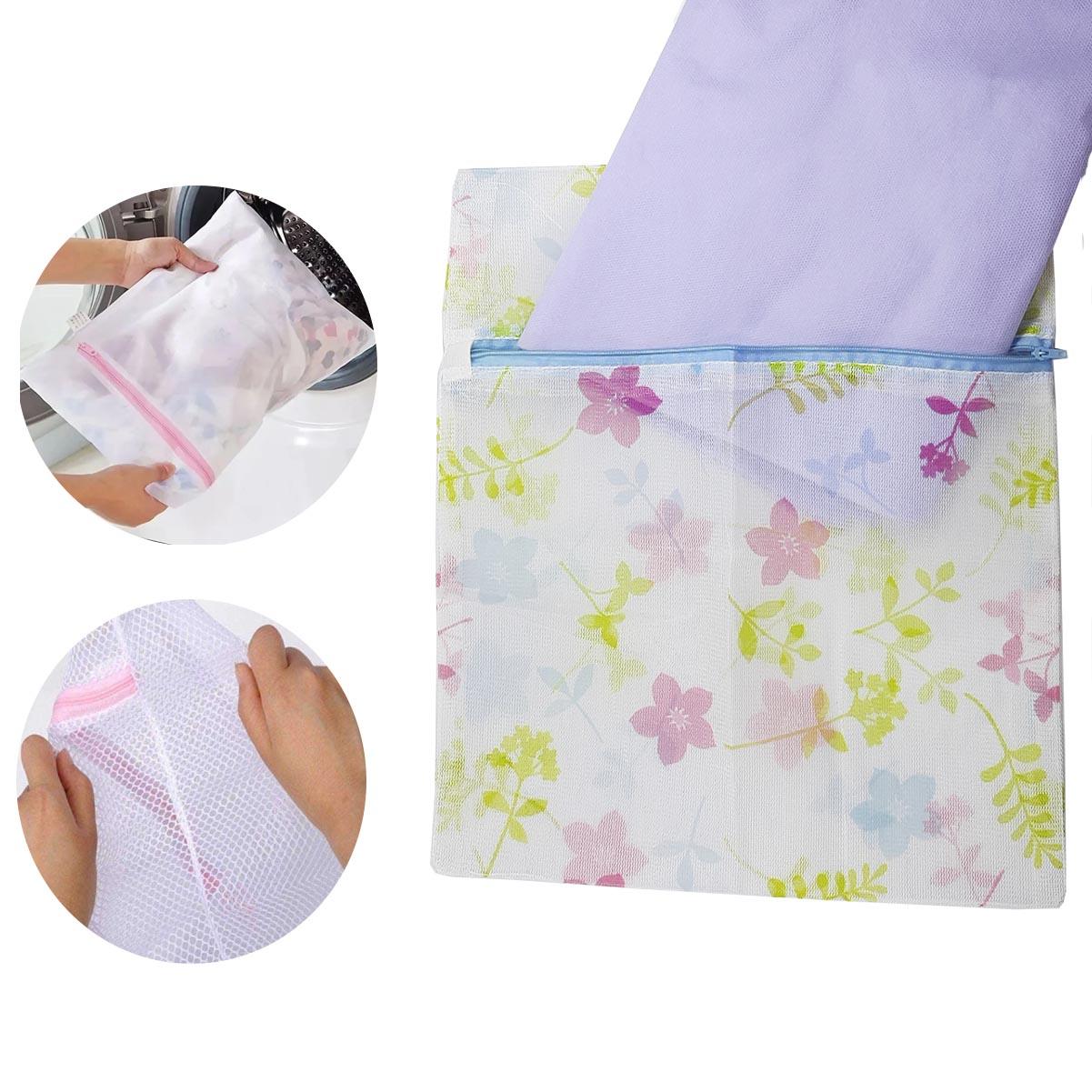 Saco Para Lavar Roupas Com Zíper Floral Tamanho P 30X35cm