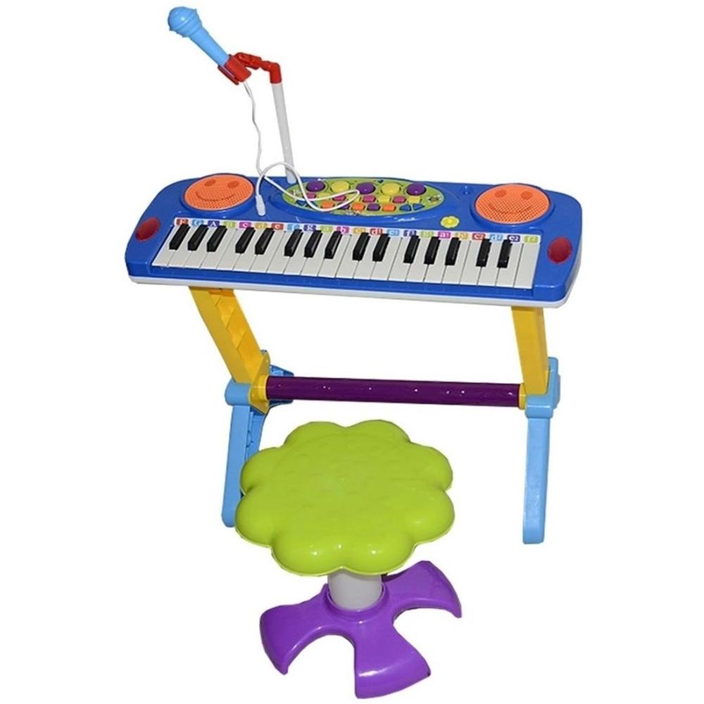 Teclado Infantil Piano Com Suporte Banquinho E Microfone
