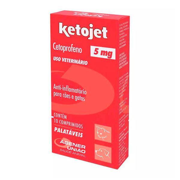 Anti-inflamatório Agener Ketojet para Cães e Gatos 5mg - C/ 10 Comprimidos