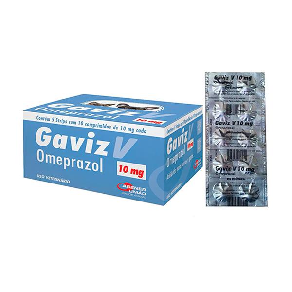 Antiácido Agener Gaviz V Omeprazol  para Cães e Gatos 10mg - C/ 10 Comprimidos (Blister)