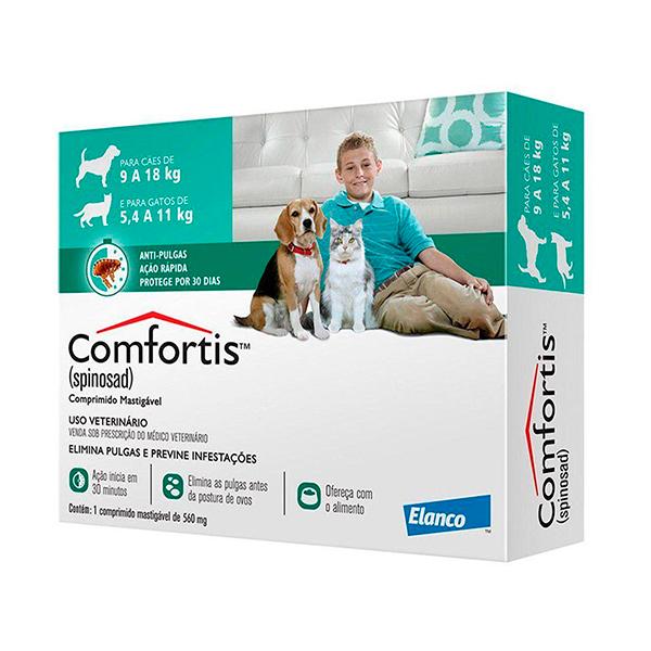 Antipulgas Elanco Comfortis 560mg para Cães de 9 à 18Kg e Gatos de 5,4 à 11Kg