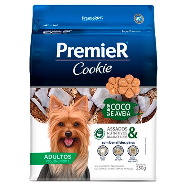 Biscoito Premier Cookie Cães Adultos Pequeno Porte Coco e Aveia 250g