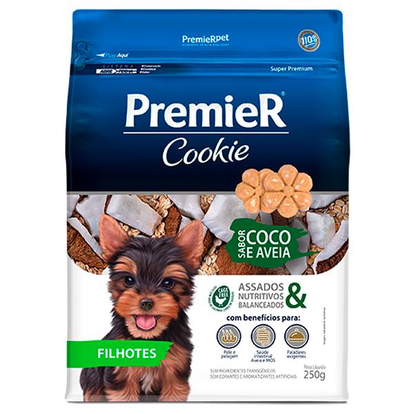 Biscoito Premier Cookie Cães Filhotes Coco e Aveia 250g
