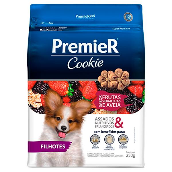 Biscoito Premier Cookie Cães Filhotes Frutas Vermelhas e Aveia 250g