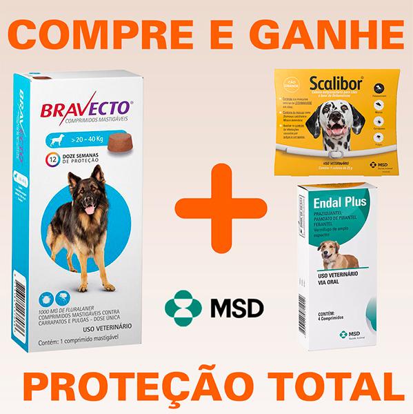 Bravecto - Antipulgas e Carrapatos Para Cães De 20 à 40Kg + BRINDES (FRETE GRÁTIS)