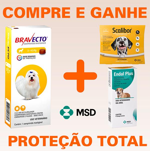 Bravecto - Antipulgas e Carrapatos Para Cães De 2 à 4,5Kg + BRINDES (FRETE GRÁTIS)