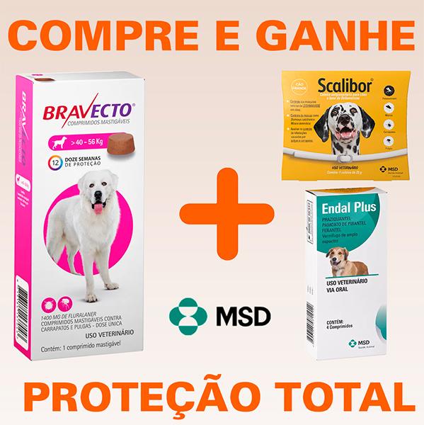 Bravecto - Antipulgas e Carrapatos Para Cães De 40 à 56Kg + BRINDES (FRETE GRÁTIS)