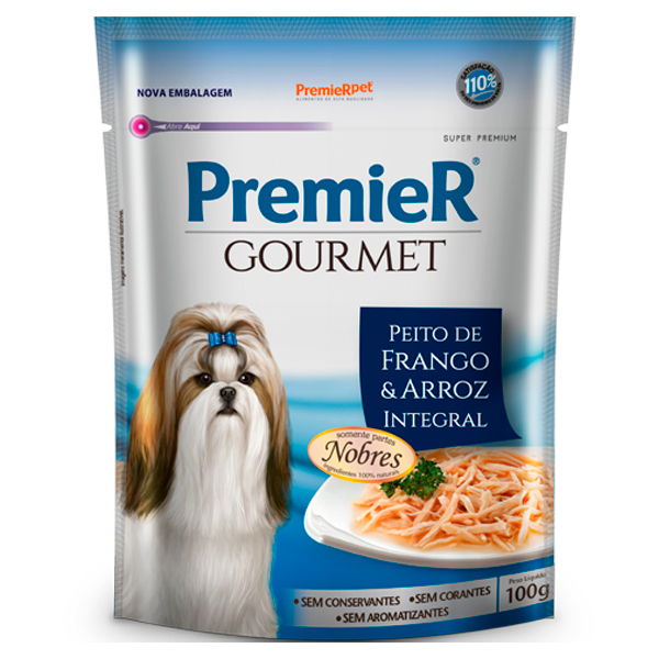 Premier Gourmet Cães Adultos Peito de Frango e Arroz Integral Sachê 100g