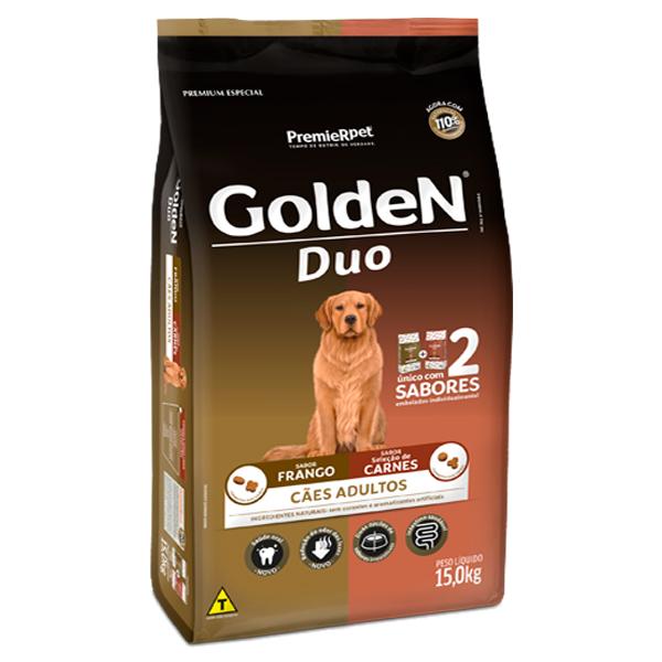 Ração Golden Duo para Cães Adultos Sabor Frango e Carne - 15Kg