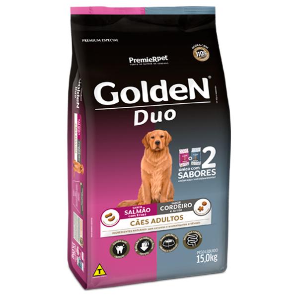 Ração Golden Duo Cães Adultos Salmão com Ervas e Cordeiro com Arroz 15Kg