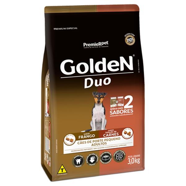 Ração Golden Duo Mini Bits Cães Adultos Pequeno Porte Frango e Carne 3Kg