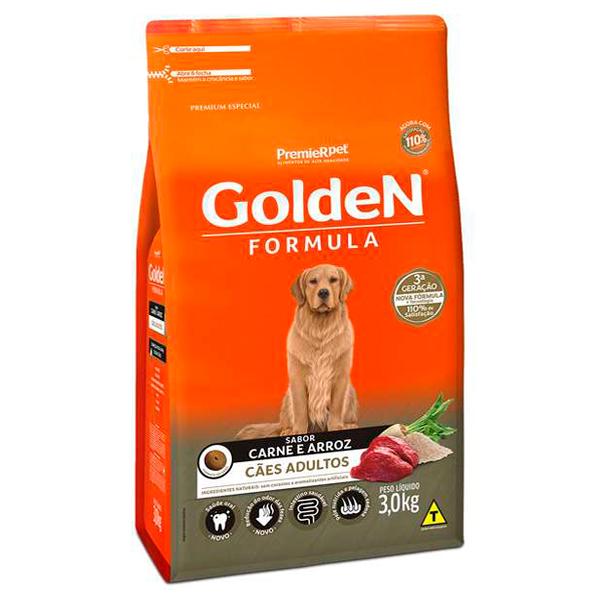 Ração Golden Fórmula Cães Adultos Carne e Arroz