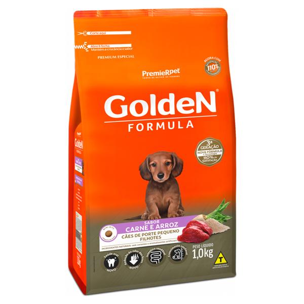 Ração Golden Fórmula Mini Bits Cães Filhotes Pequeno Porte Carne e Arroz