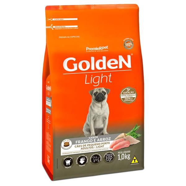 Ração Golden Fórmula Mini Bits Light Cães Adultos Pequeno Porte Frango e Arroz