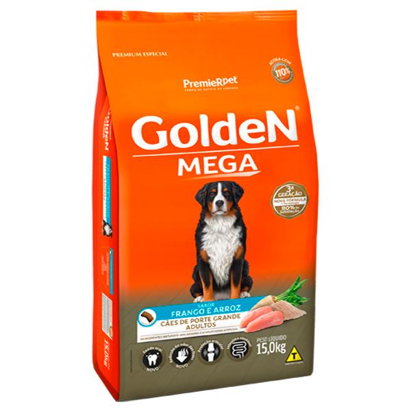 Ração Golden Mega para Cães Adultos de Grande Porte Sabor Frango e Arroz - 15Kg