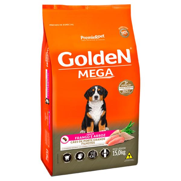 Ração Golden Mega para Cães Filhotes de Grande Porte Sabor Frango e Arroz - 15Kg