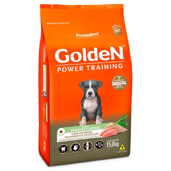 Ração Golden Power Training para Cães Filhotes Sabor Frango e Arroz - 15Kg