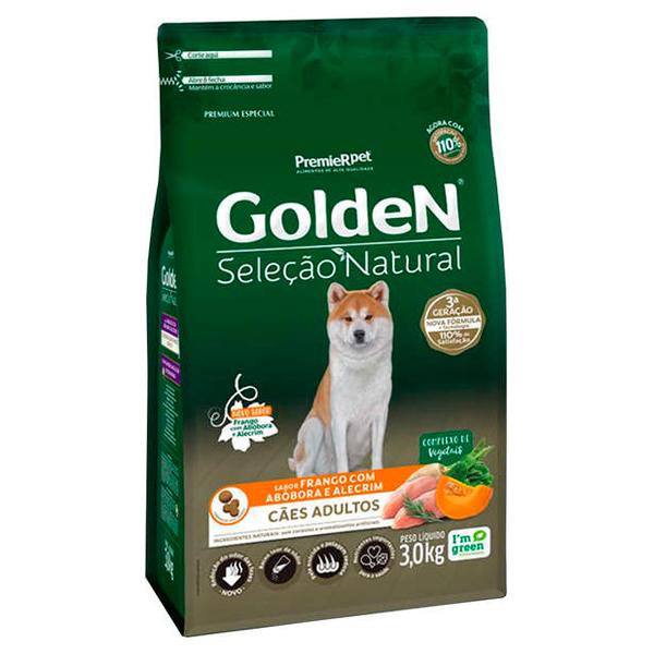 Ração Golden Seleção Natural para Cães Adultos Sabor Abóbora