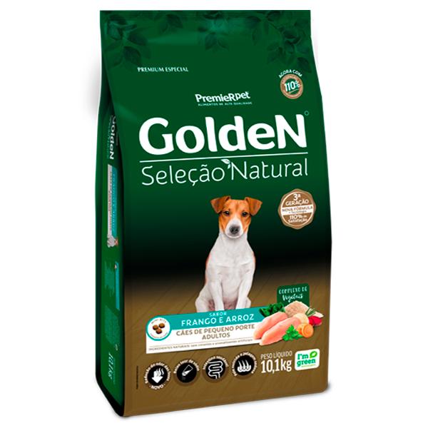 Ração Golden Seleção Natural para Cães Adultos de Pequeno Porte Sabor Frango e Arroz