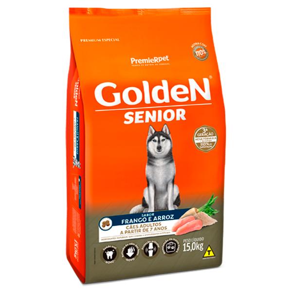 Ração Golden Senior para Cães Adultos Sabor Frango e Arroz - 15Kg