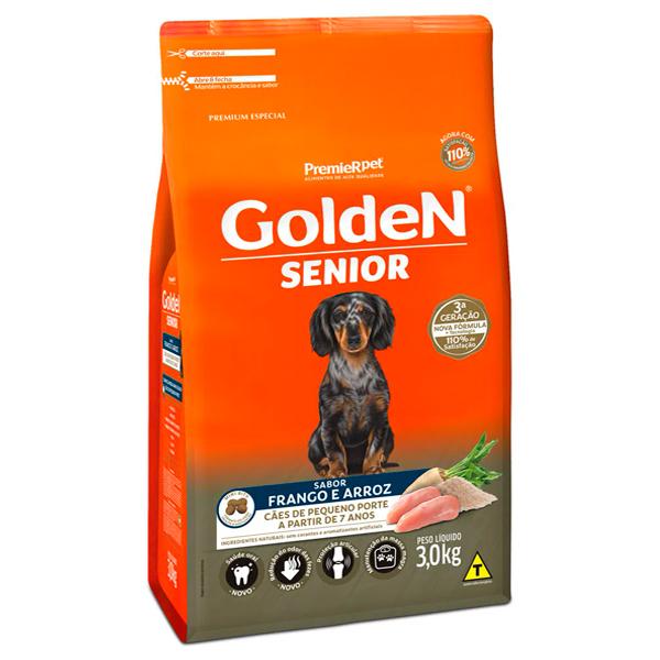 Ração Golden Senior Mini Bits para Cães Adultos de Pequeno Porte Sabor Frango e Arroz