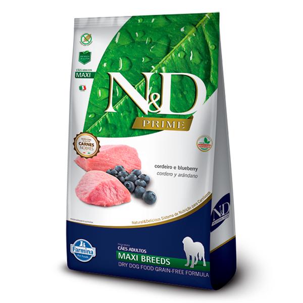Ração N&D Prime Maxi para Cães Adultos de Raças Grandes Sabor Cordeiro e Blueberry - 10,1kg