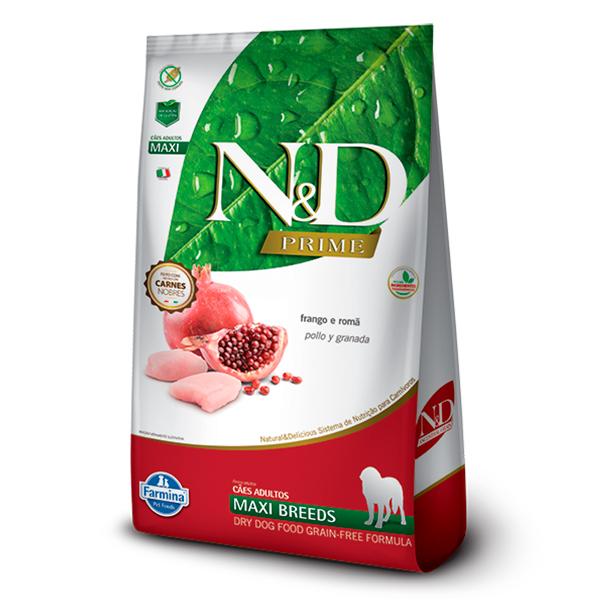 Ração N&D Prime Maxi para Cães Adultos de Raças Grandes Sabor Frango e Romã - 10,1kg