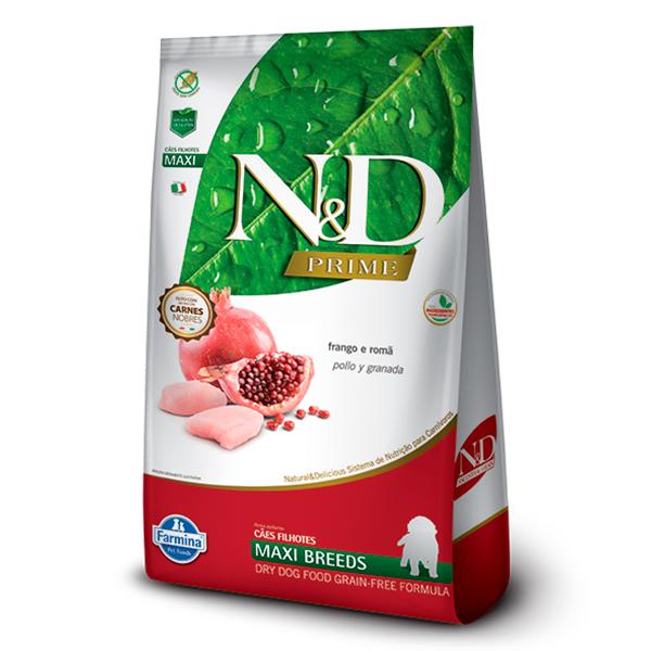 Ração N&D Prime Maxi para Cães Filhotes de Raças Grandes Sabor Frango e Romã - 10,1kg