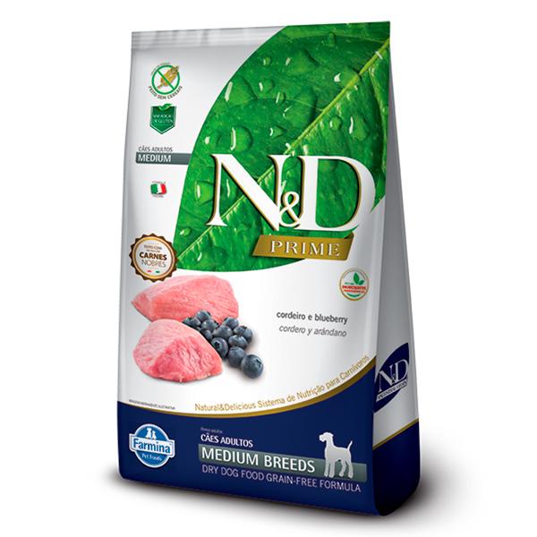 Ração N&D Prime Medium para Cães Adultos de Raças Médias Sabor Cordeiro e Blueberry - 10,1kg