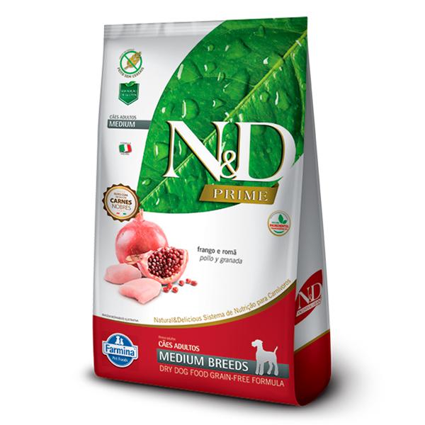 Ração N&D Prime Medium para Cães Adultos de Raças Médias Sabor Frango e Romã - 10,1kg