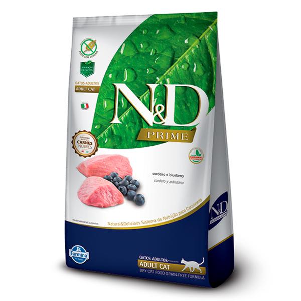 Ração N&D Prime para Gatos Adultos Sabor Cordeiro e Blueberry - 7,5kg