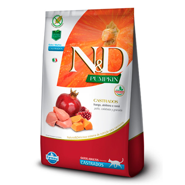Ração N&D Pumpkin para Gatos Adultos Castrados sabor Frango, Abóbora e Romã - 7,5kg