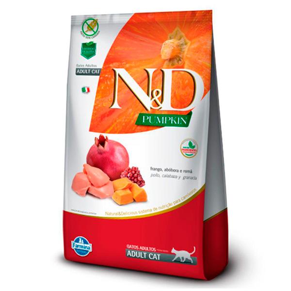 Ração N&D Pumpkin para Gatos Adultos sabor Frango, Abóbora e Romã - 7,5kg