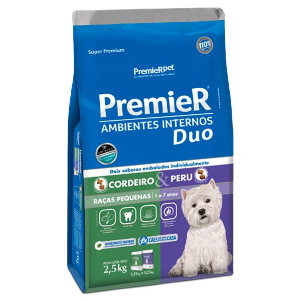 Ração Premier Ambientes Internos Duo Cães Adultos Pequeno Porte Cordeiro e Peru