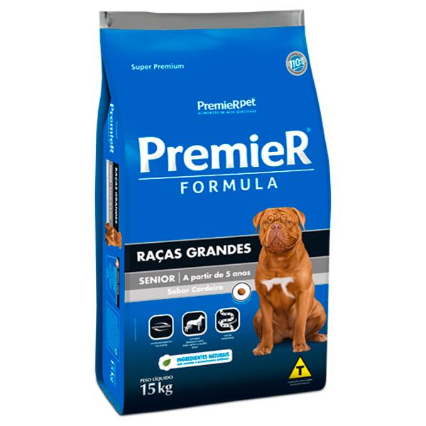 Ração Premier Formula Cães Senior Porte Grande Cordeiro 15Kg