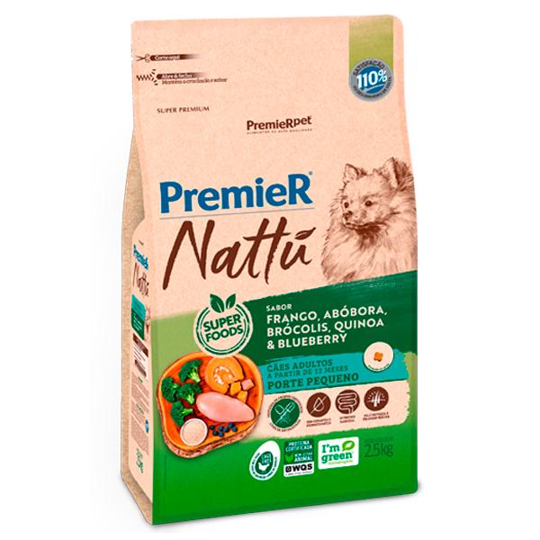 Ração Premier Nattu Cães Adultos Pequeno Porte Abóbora