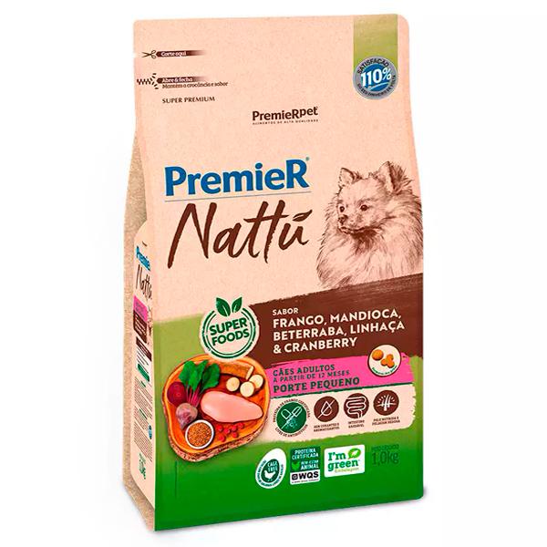 Ração Premier Nattu Cães Adultos  Pequeno Porte Mandioca